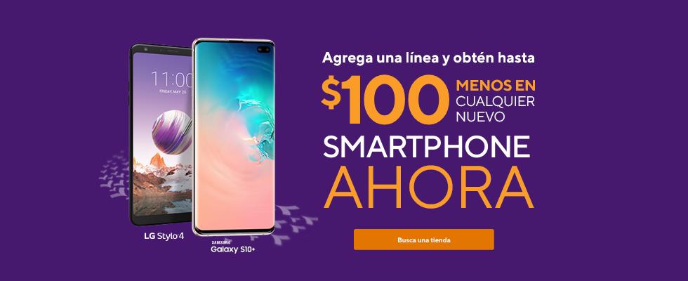 LG Stylo 4 y Samsung Galaxy S10e. ¡Agrega una línea y obtén un descuento de $100 al instante en cualquier nuevo smartphone ahora!