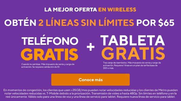 Mejor oferta en wireless. Amazon Prime incluido. 3 líneas sin límites por $100. Metro by T-Mobile.