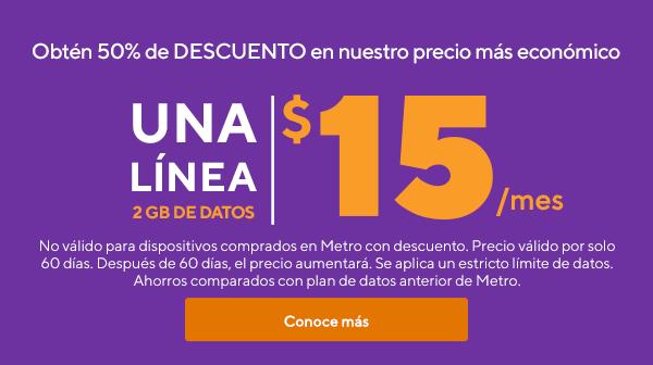 La mejor oferta en wireless. Obtén 50% de descuento en nuestro precio más económico. Una línea con 2GB de datos por solo$15 al mes.