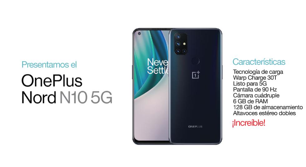 PresentamosNord N10 5G deOnePlus. Con tecnología de carga Warp Charge 30T listo para 5G Pantalla homogénea de 90 Hz Cámara cuádruple 6 GB de RAM 128 GB de almacenamiento Altavoces estéreo dobles. ¡Increíble!