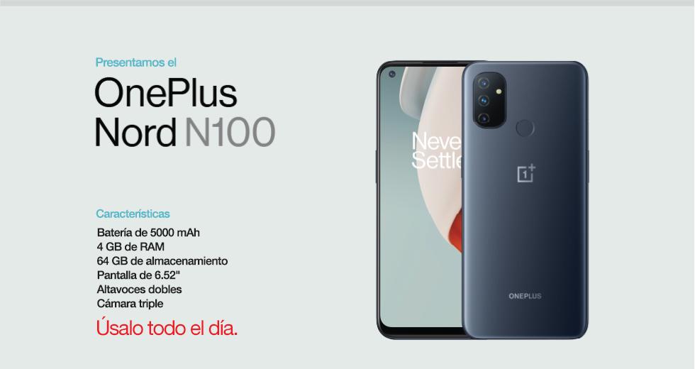 Presentamos el Nord N100 deOnePlus Con una batería de 5000 mAh, 4 GB de RAM, 64 GB de almacenamiento, pantalla de 6.52 pulgadas, altavoces dobles y cámara triple. Úsalo todo el día.