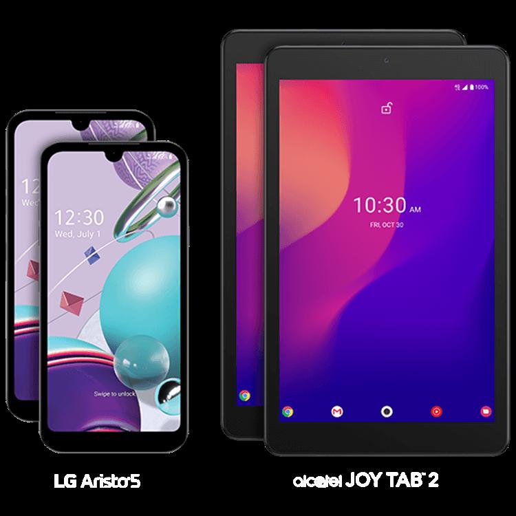 Dos teléfonos LG Aristo 5G y dos tablets alcatel JOY TAB 2