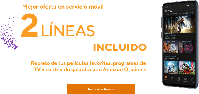 Mejor oferta en servicio móvil.2líneas sin límites por $80cuando te cambias a Metro by T-Mobile. Amazon Prime incluido. Repleto de películas, programas de TV ycontenido galardonado Amazon Originals.