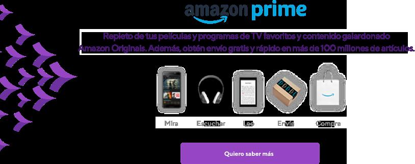 Amazon Prime. Transmite películas, programas de TV y música sin anuncios. Además, obtén envío GRATIS y rápido en más de 100 millones de artículos.