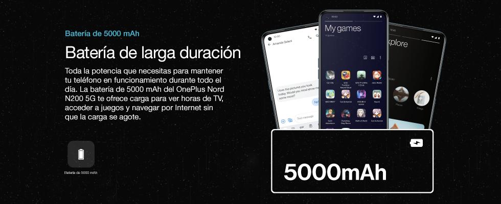 Toda la potencia que necesitas para mantener tu teléfono en funcionamiento durante todo el día. La batería de 5000 mAh del OnePlus Nord N200 5G te ofrece carga para ver horas de TV, acceder a juegos y navegar por Internet sin que la carga se agote.