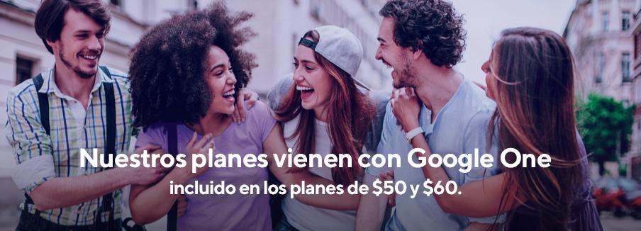 Solo Metro incluye Google One, ahora con nuestros planes de $50 y $60. Se necesita dispositivo compatible con Android y plan de tarifas elegible.