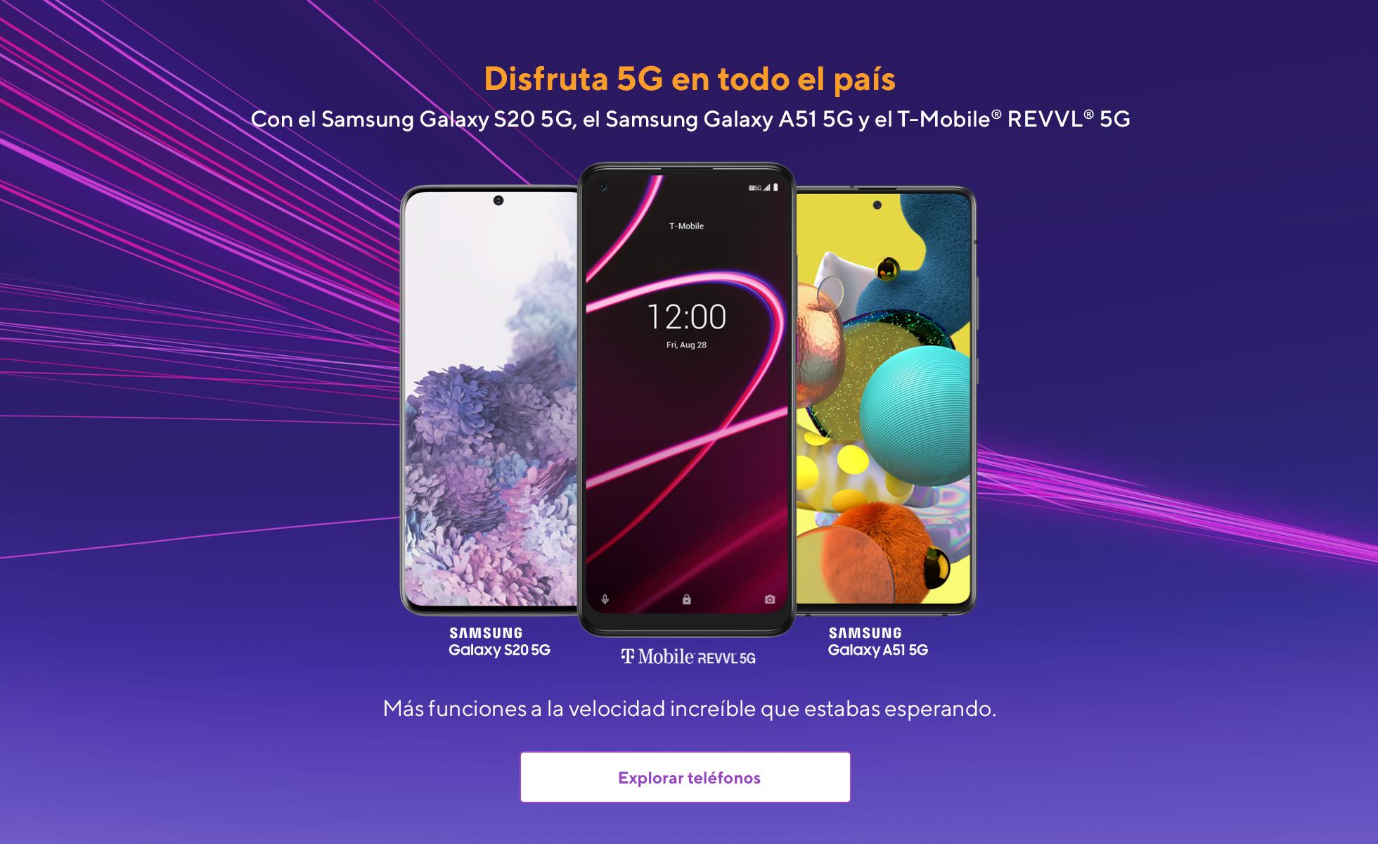 Experimenta la red 5G nacional en todo el país conelSamsung Galaxy S20 5G, Samsung Galaxy A21 5G y el REVVL 5G deT-Mobile