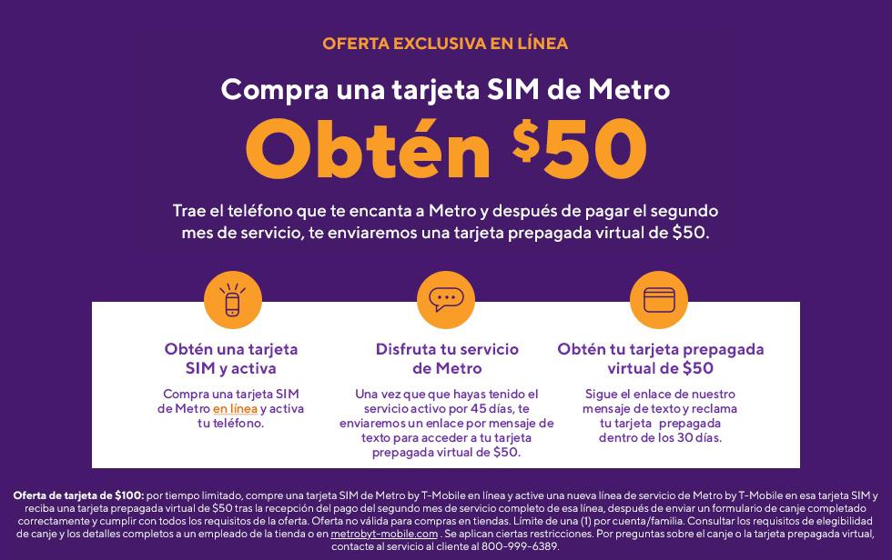 ¡Oferta en línea! Trae tu teléfono y obtén una tarjeta Visa de $50. Metro by T-Mobile.