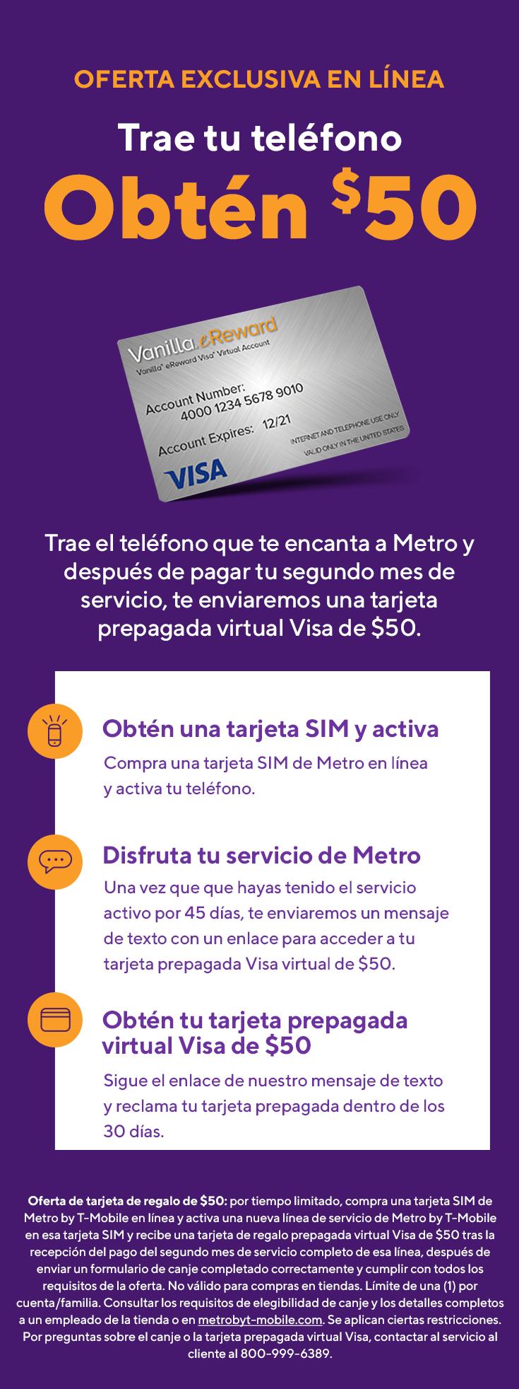 ¡Oferta en línea! Trae tu teléfono y obtén una tarjeta de regalo Visa de $50. Metro by T-Mobile.
