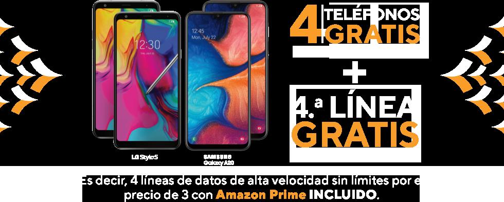 4 teléfonos gratis cuando te cambias aMetro by T-Mobile. Más impuesto de venta y cargo de activación. Requiere validación de ID. Y 4.ª línea gratis con un plan base de $60. Es decir, 4 líneas de datos de alta velocidad sin límites por el precio de 3 con Amazon Prime INCLUIDO. LG Stylo 5. Samsung Galaxy A20.