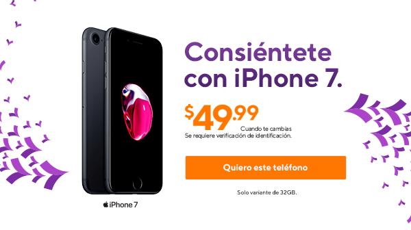 Regálate un iPhone7 por $49.99 cuando te cambias. Variante de 32GB . Se requiere verificación de identificación. Metro by T-Mobile.