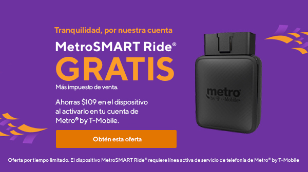 Obtén MetroSMART Ride GRATIS más impuesto de venta de Metro by T-Mobile.